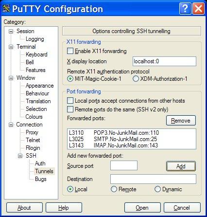 Putty SSH-Tunnel Info